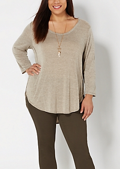 Plus Marled Brown Split Seam Top