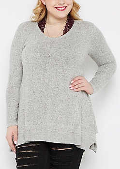 Plus Gray Marled Sharkbite Sweater