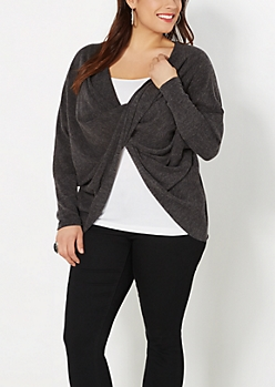 Plus Twist Front Dolman Sweater