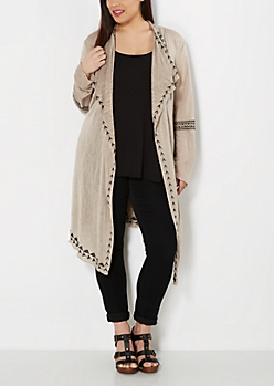Plus Taupe Aztec Embroidered Duster