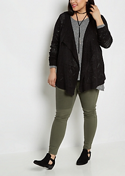 Plus Black Pointelle Knit Cascading Cardigan