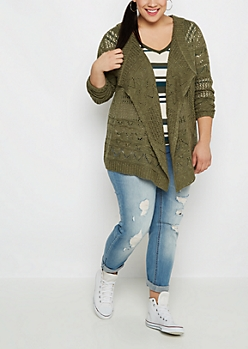 Plus Olive Pointelle Knit Cascading Cardigan