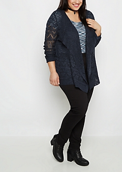 Plus Navy Pointelle Knit Cascading Cardigan