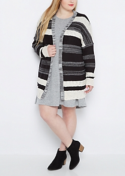 Plus Marled Stripe Cardigan