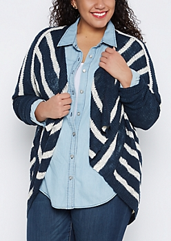 Plus Navy Striped Cascading Dolman Cardigan