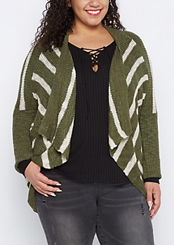 Plus Olive Striped Cascading Dolman Cardigan