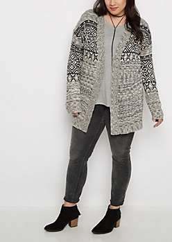 Plus Marled Geo Cardigan