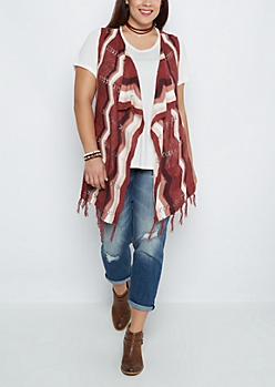 Plus Cascading Fringe Open Knit Wrap