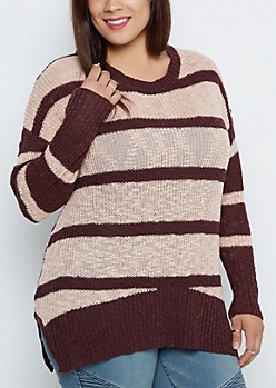 Plus Pink Striped Tunic Sweater
