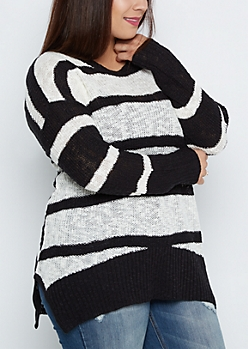 Plus Black Striped Tunic Sweater