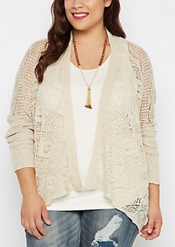Plus Oatmeal Pointelle Knit Wrap