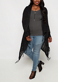 Plus Black Cascading Fringe Pointelle Wrap