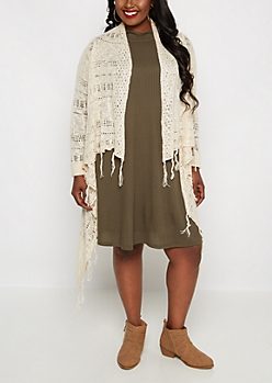 Plus Tan Cascading Fringe Pointelle Wrap