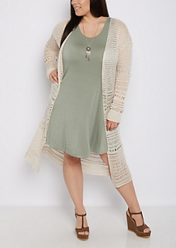 Plus Pointelle Cardigan Duster
