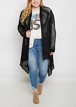 Plus Black Cascading Pointelle Cardigan Duster