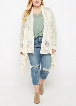 Plus Ivory Cascading Pointelle Knit Duster