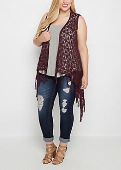 Plus Plum Cascading Crochet Fringe Vest