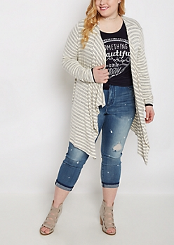 Plus Ivory Double Striped Cascading Cardi