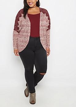 Plus Burgundy Crochet Shoulder Wrap