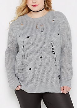 Plus Gray Destroyed Chunky Knit Sweater