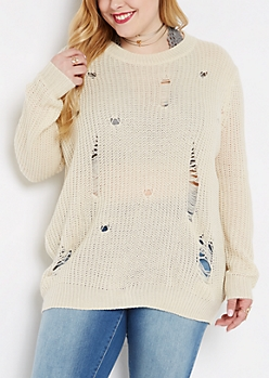 Plus Ivory Destroyed Chunky Knit Sweater