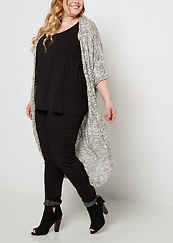 Plus Black Marled Pointelle Cocoon Cardigan Duster