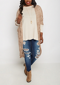 Plus Tan Pointelle Cocoon Cardigan Duster