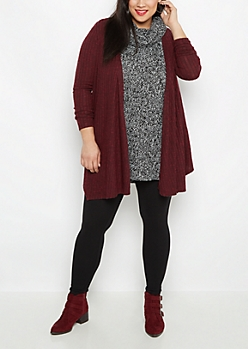 Plus Burgundy Soft Ribbed Cascading Cardigan
