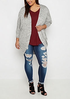 Plus Gray Marled Soft Cocoon Wrap