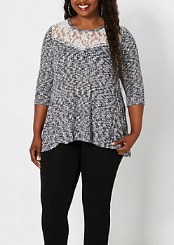 Plus Navy Lace Yoke Marled Top