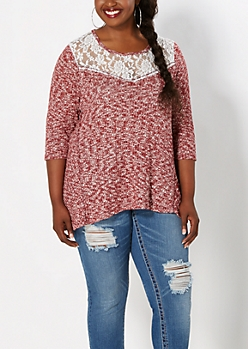 Plus Burgundy Lace Yoke Marled Top