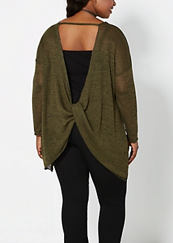 Plus Olive Green Twisted Back Sweater