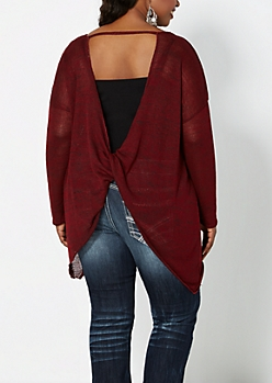 Plus Burgundy Twisted Back Sweater