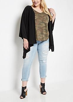 Plus Black Soft Knit Kimono