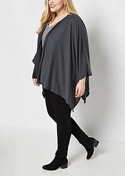 Plus Charcoal Soft Knit Kimono