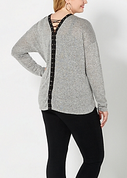 Plus Gray Marled Lace-Up Top