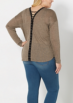 Plus Taupe Marled Lace-Up Top