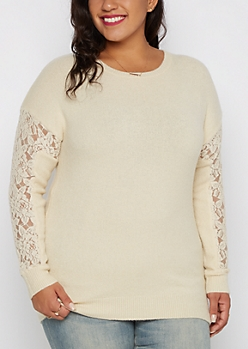Plus Ivory Lace Sleeve Sweater By Clover + Scout®