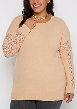 Plus Pink Lace Sleeve Sweater By Clover + Scout®
