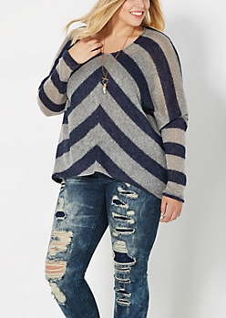 Plus Navy Chevron Dolman Sweater