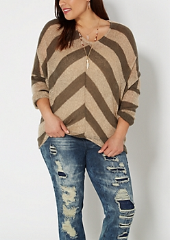 Plus Tan Chevron Dolman Sweater