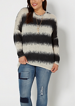 Plus Black Striped Dolman Sweater
