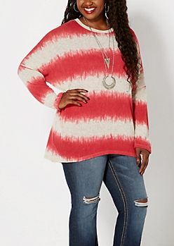 Plus Red Striped Dolman Sweater