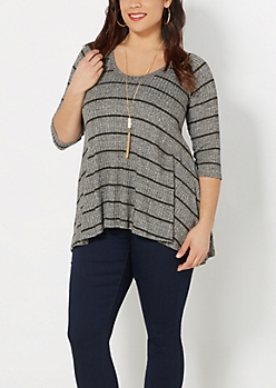 Plus Gray Gold Striped Sharkbite Sweater