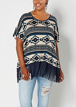 Plus Navy Southwestern Fringed Poncho