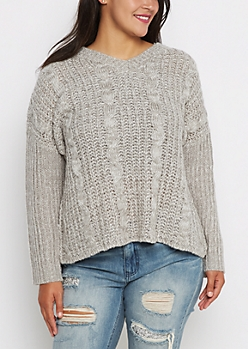Plus Gray Chunky Cable Knit Sweater