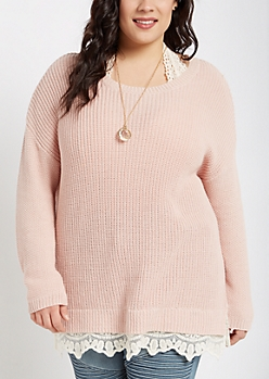Plus Pink Lace Trimmed Sweater