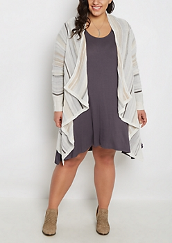 Plus Gray Striped Cascading Cardigan