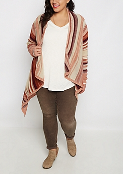 Plus Pink Striped Cascading Cardigan