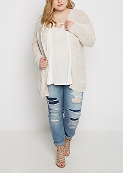 Plus Lace-Up Back Space Dyed Cardi